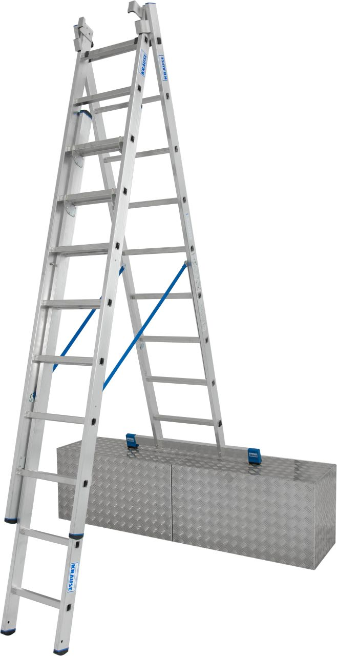 Sprossen-Vielzweckleiter. Dreiteilige Aluminium-Vielzweckleiter für professionelle Ansprüche, einsetzbar als Anlegeleiter, Schiebeleiter und Stehleiter mit ausschiebbarem und einzeln herausnehmbaren Leiternteil.