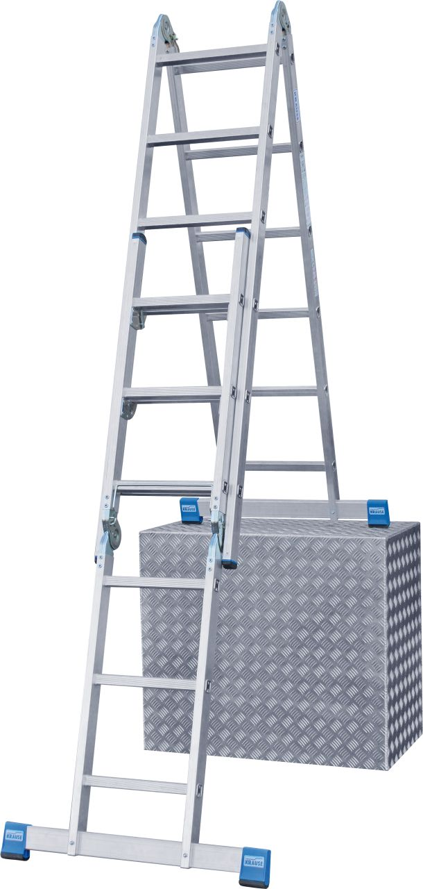 Sprossen-Gelenk-Combileiter. Die Allround-Aluminium-Gelenkleiter ermöglicht die Verwendung als Anlegeleiter, Vielzweckleiter, treppengängige, beidseitig begehbare Stehleiter oder als Arbeitsbühne in Kombination mit dem optional erhältlichen Teleboard