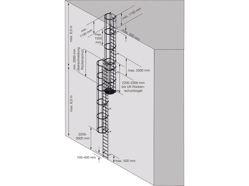 Steigleiter nach DIN EN ISO 14122_4  Ortsfeste Steigleiter an maschinellen Anlagen. Einsatzbereiche: Zugang zu Maschinen und maschinellen Anlagen