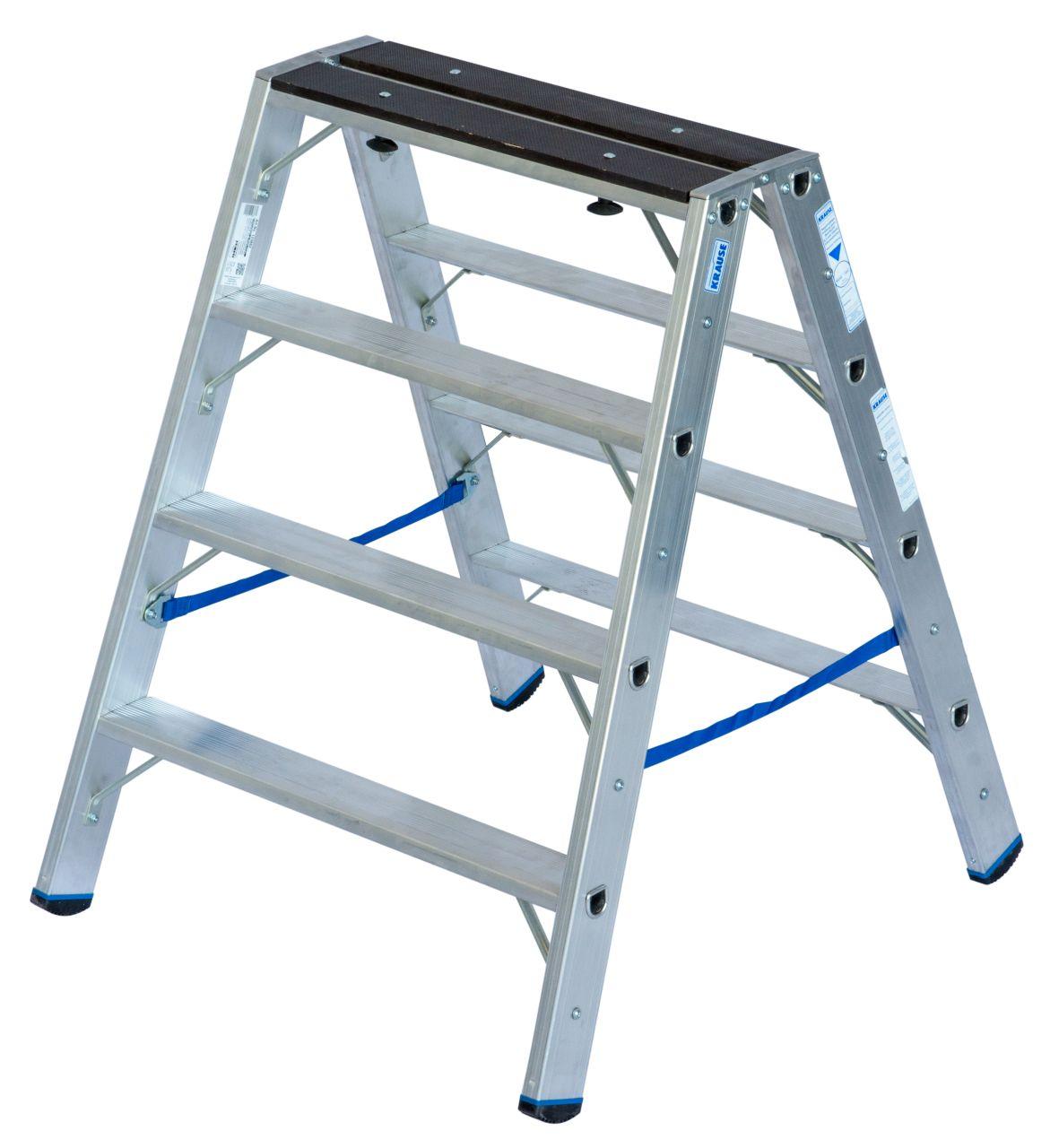Stufen-Doppelleiter mit Holzauflage Professionelle Aluminium-Stehleiter mit praktischer Doppelfunktion. Verwendbar als Doppelleiter oder Arbeitsbock
