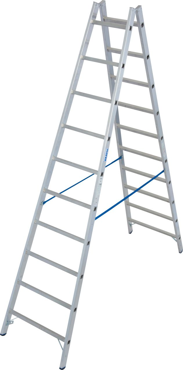 Sprossen-Doppelleiter. Profi-Aluminium-Doppelleiter mit gebördelten Sprossen und verschraubten Metallgelenken für maximale Stabilität