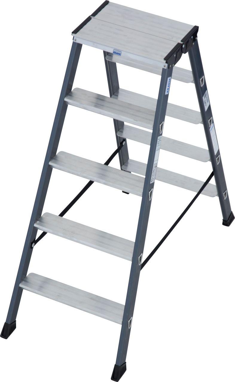 Stufen-Doppelleiter SePro D eloxiert  Die SePro D ist die High-End-Stufen-Doppelleiter aus dem MONTO-Programm-sauber, komfortabel und langlebig