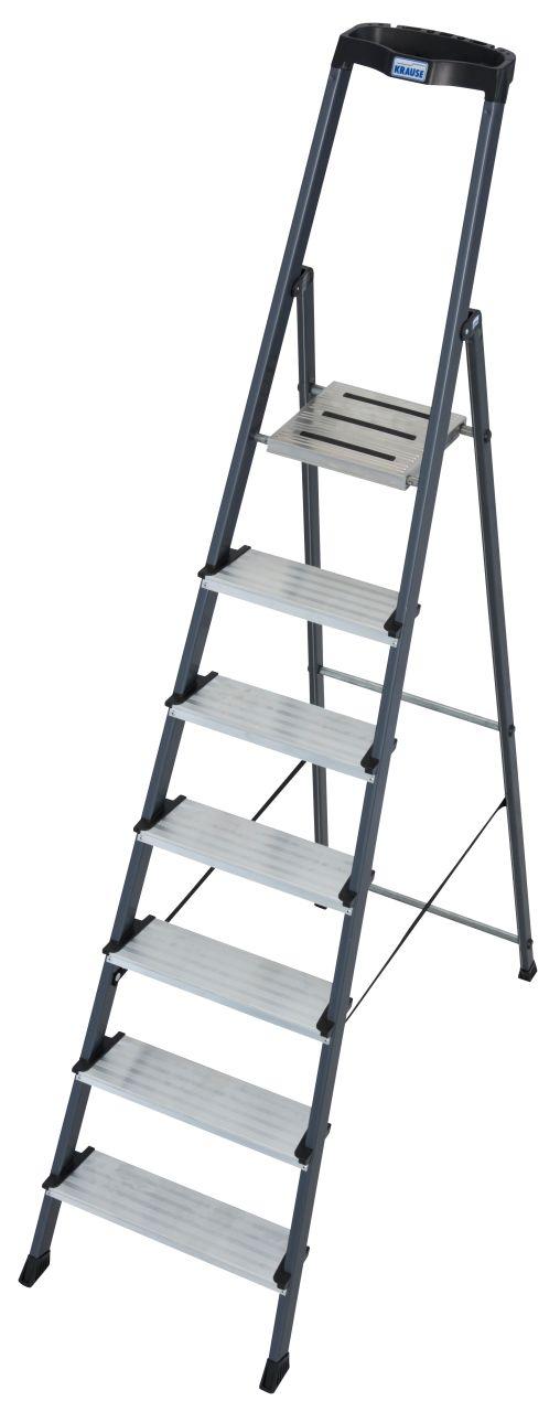 Stufen-Stehleiter Securo eloxiert. Die Stufen-Stehleiter für Tätigkeiten, bei denen Sauberkeit und Komfort von Bedeutung sind