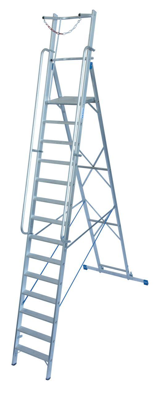 Stufen-Stehleiter mit großer Plattform und Sicherheitsbügel. Fahrbare Stufen-Plattformleiter mit großer, komfortabler Standfläche und umlaufender Absicherung