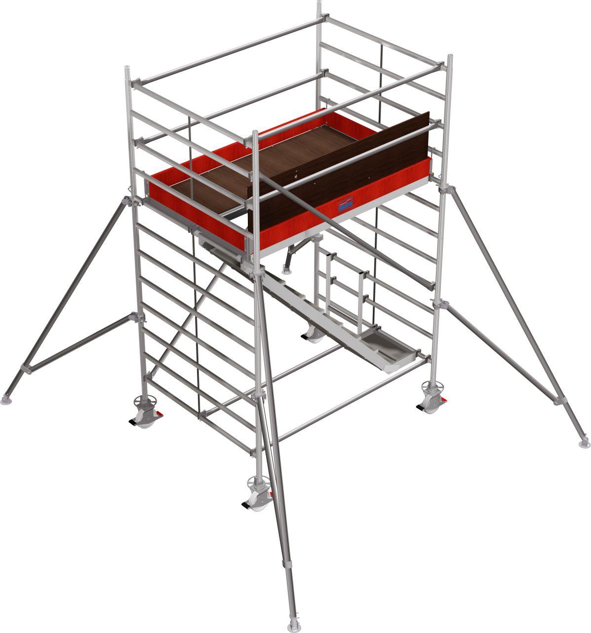 Fahrgerüst Serie 5500 Das professionelle Alu-Fahrgerüst mit komfortablem Treppenaufgang und doppelter Arbeitsfläche