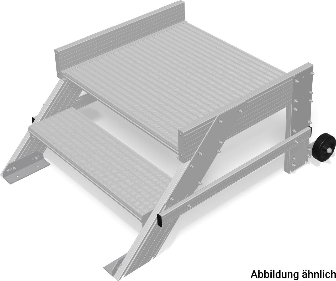 Podesttreppe, fahrbar aus Leichtmetall, Mobile Podesttreppe aus stabilen Aluminium-Profilen