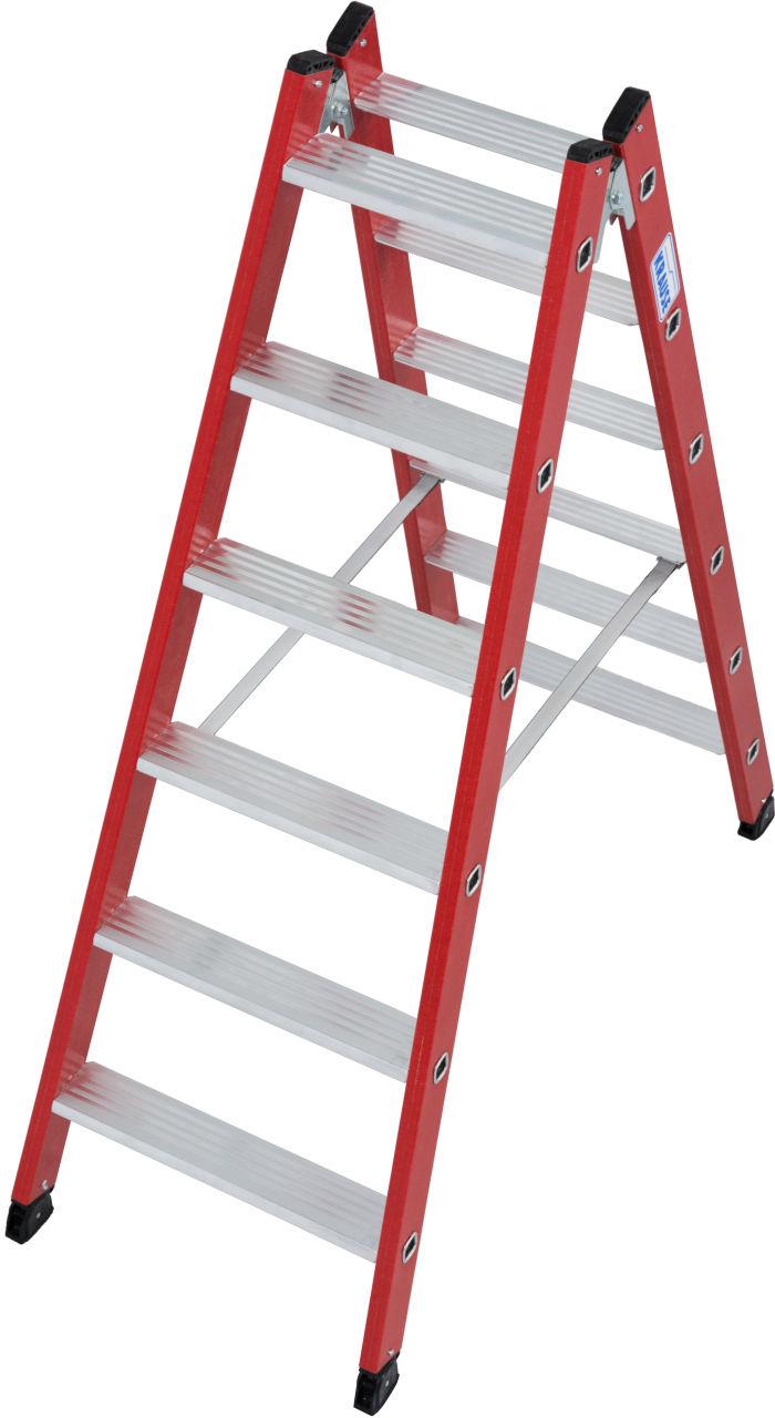 Kunststoff-Stufen-Doppelleiter. Beidseitig begehbare Stufen-Doppelleiter mit Holmen aus glasfaserverstärktem Kunststoff (GFK)