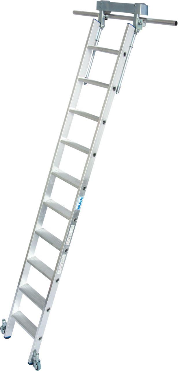 Stufen-Regalleiter, T_Schienenanlage. Aluminium-Stufen-Regalleiter mit integriertem Kopffahrwerk-System für T_Schienenanlage