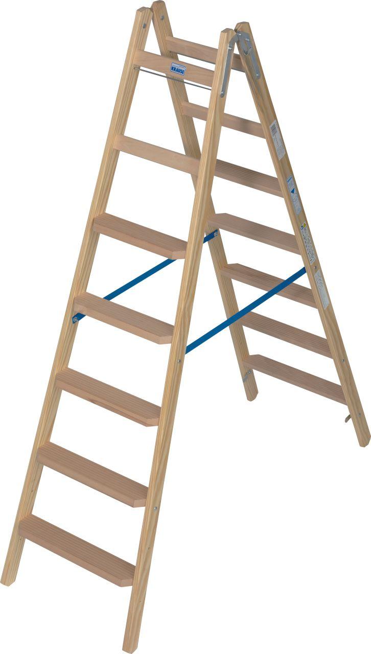 Stufen/Sprossen-Doppelleiter Holz. Die komfortable, beidseitig begehbare Stehleiter aus Holz mit Stufen/Sprossen-Kombination für TRBS 2121-2-konforme Anwendung. Ideal für Maler und Elektriker.