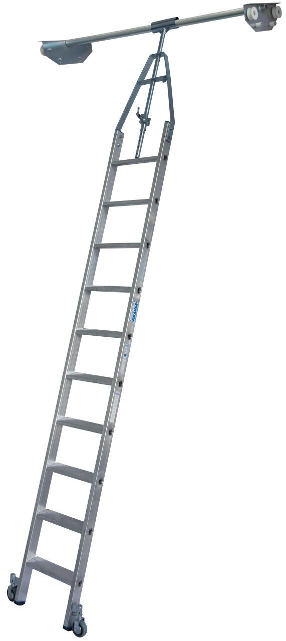 Stufen-Regalleiter Doppelregal, Rundrohr-Schienenanlage. Aluminium-Stufen-Regalleiter mit integriertem Kopffahrwerk-System für Doppelregal, drehbar