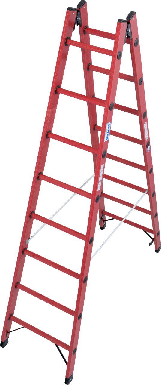Vollkunststoff-Sprossen-Doppelleiter. Beidseitig begehbare Sprossen-Doppelleiter mit Sprossen und Holmen aus glasfaserverstärktem Kunststoff (GFK)