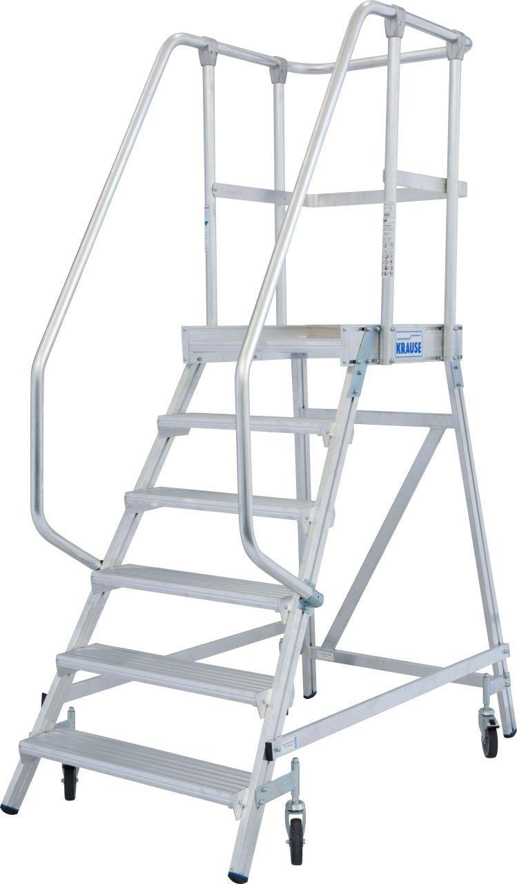 Podestleiter fahrbar, einseitig begehbar gem. EN 131-7. Fahrbare, einseitig begehbare Aluminium-Podestleiter mit tiefen Stufen, beidseitigem Geländer und großer Standplattform für sicheres und bequemes Arbeiten