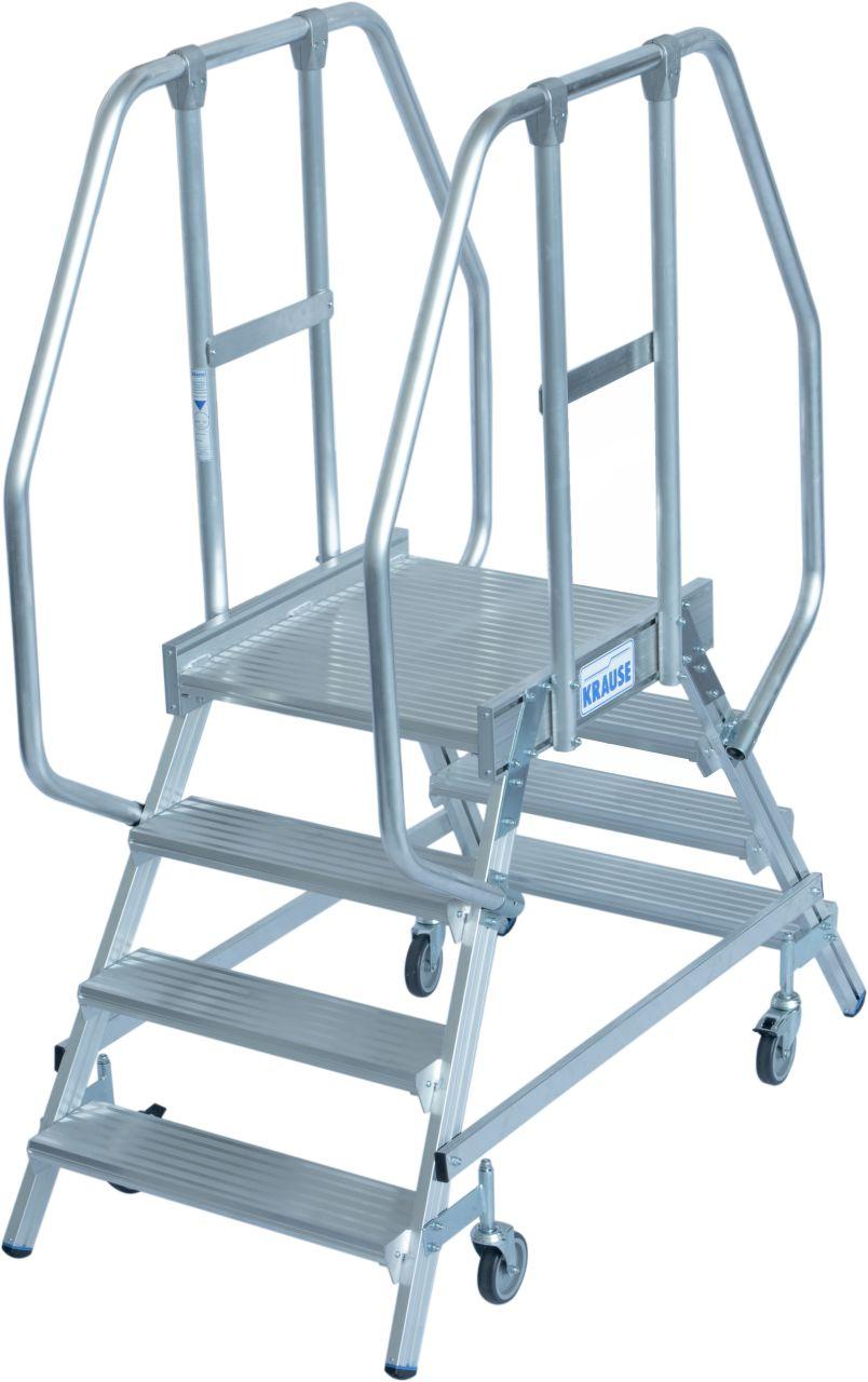 Podestleiter fahrbar, beidseitig begehbar, gem. EN 131-7. Fahrbare, beidseitig begehbare Aluminium Podestleiter mit tiefen Stufen, beidseitigem Geländer, großer Standplattftorm für sicheres und bequemes Arbeiten