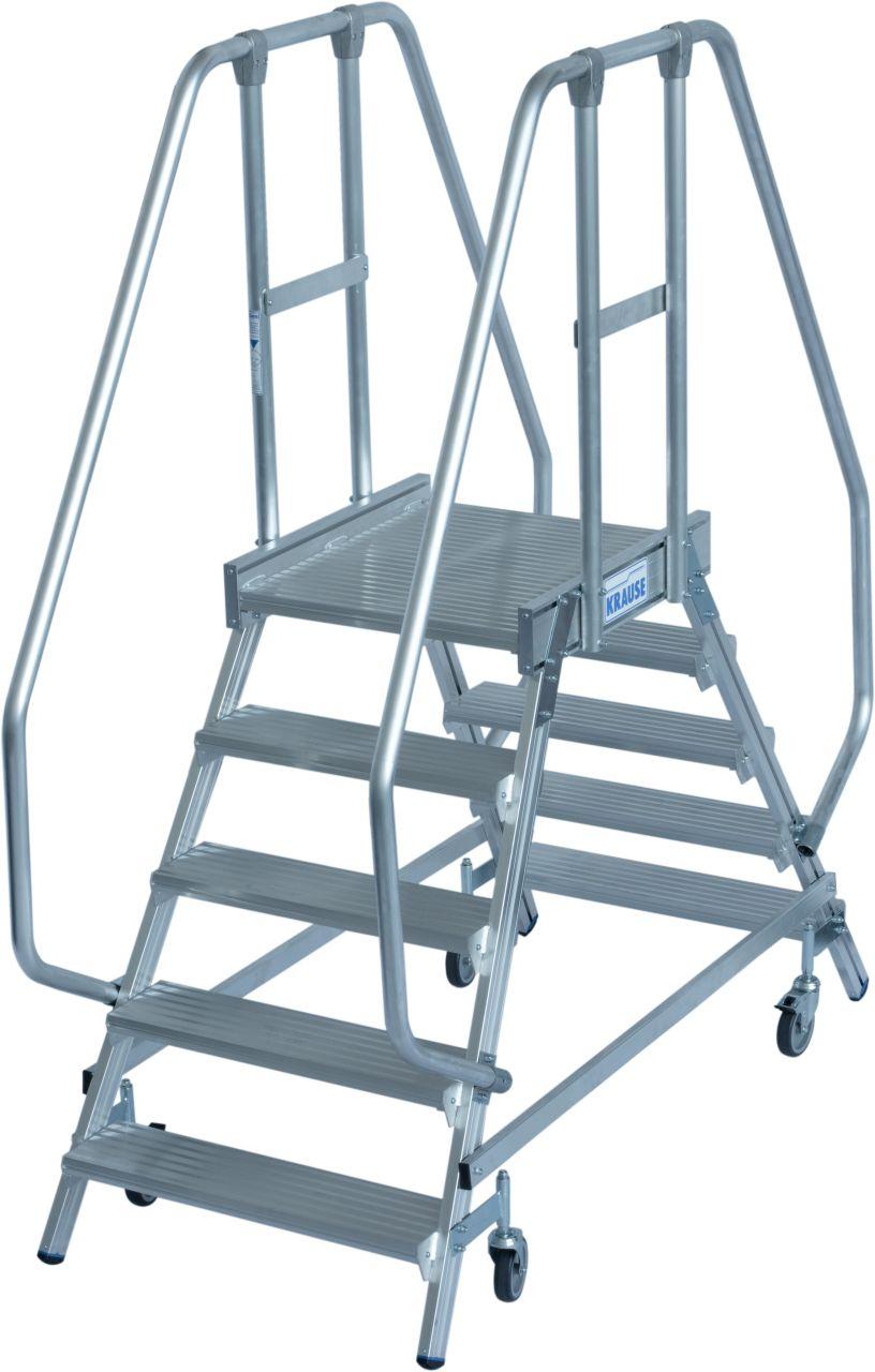 Podestleiter fahrbar, beidseitig begehbar, gem. EN 131-7. Fahrbare, beidseitig begehbare Aluminium Podestleiter mit tiefen Stufen, beidseitigem Geländer, großer Standplattform für sicheres und bequemes Arbeiten