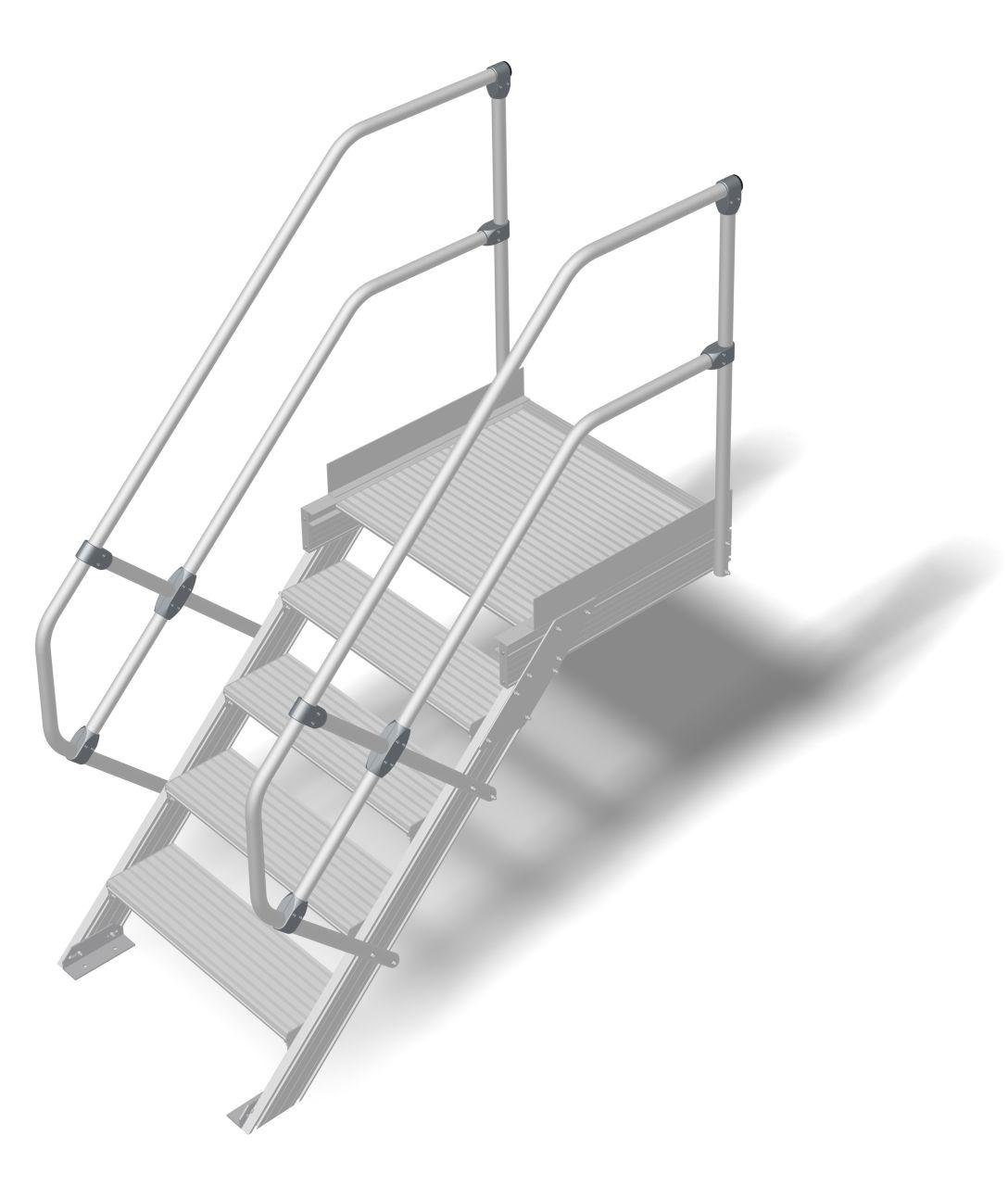 Treppe mit Plattform (Leichtmetall) Robuste Aluminium-Treppe für den sicheren Zugang zu Türen oder Zwischenböden etc. in Anlehnung an die DIN EN ISO14122Treppe mit Plattform (Leichtmetall) Robuste Aluminium-Treppe für den sicheren Zugang zu Türen oder Zwi