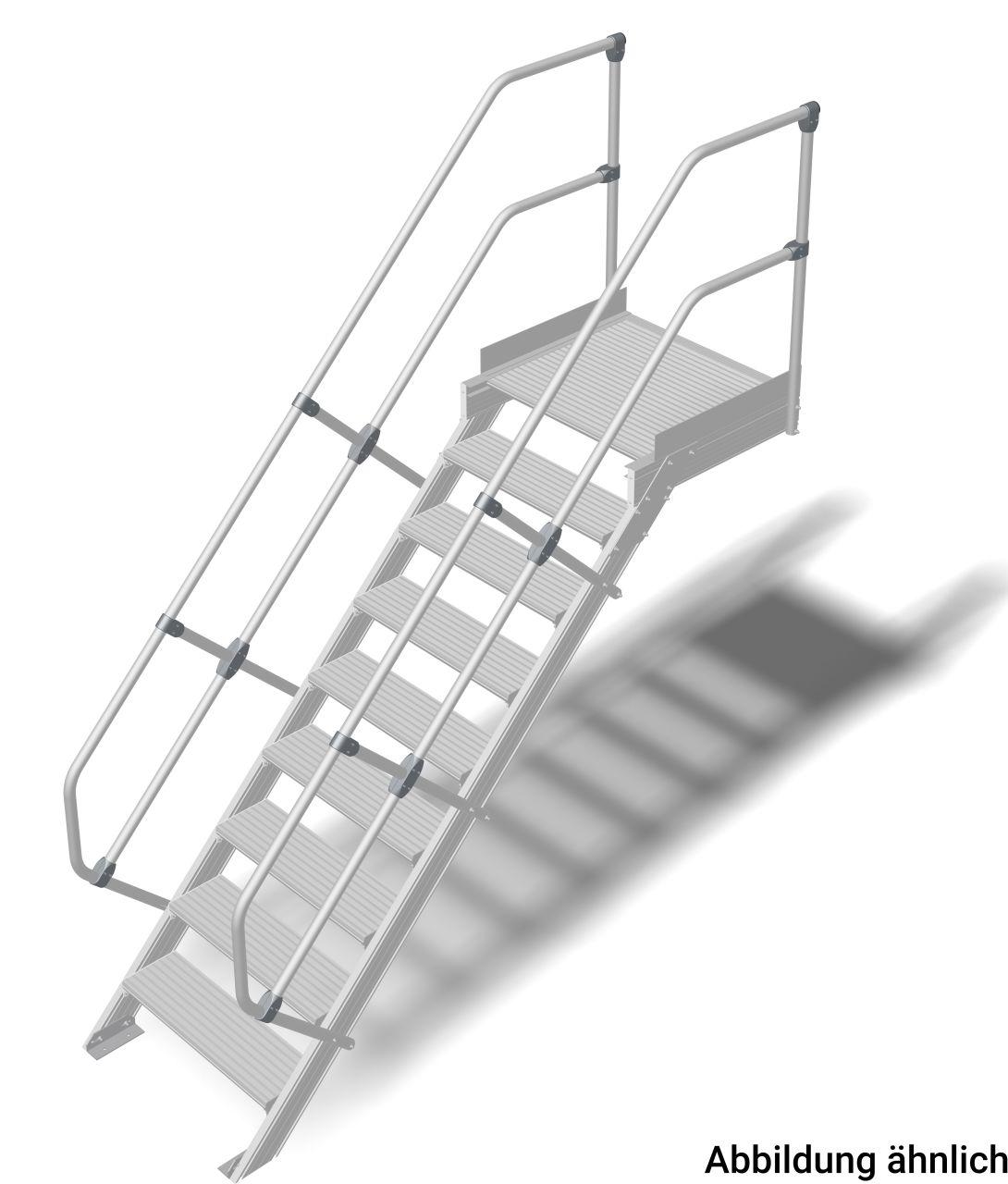 Treppe mit Plattform (Leichtmetall) Robuste Aluminium-Treppe für den sicheren Zugang zu Türen oder Zwischenböden etc. in Anlehnung an die DIN EN ISO14157