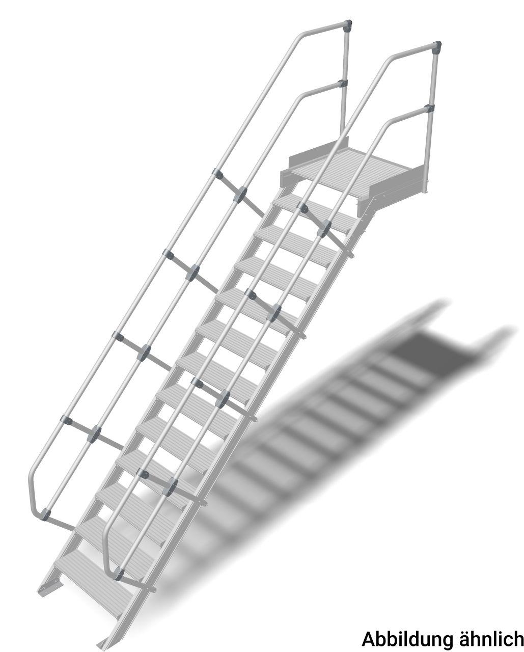 Treppe mit Plattform (Leichtmetall) Robuste Aluminium-Treppe für den sicheren Zugang zu Türen oder Zwischenböden etc. in Anlehnung an die DIN EN ISO14122