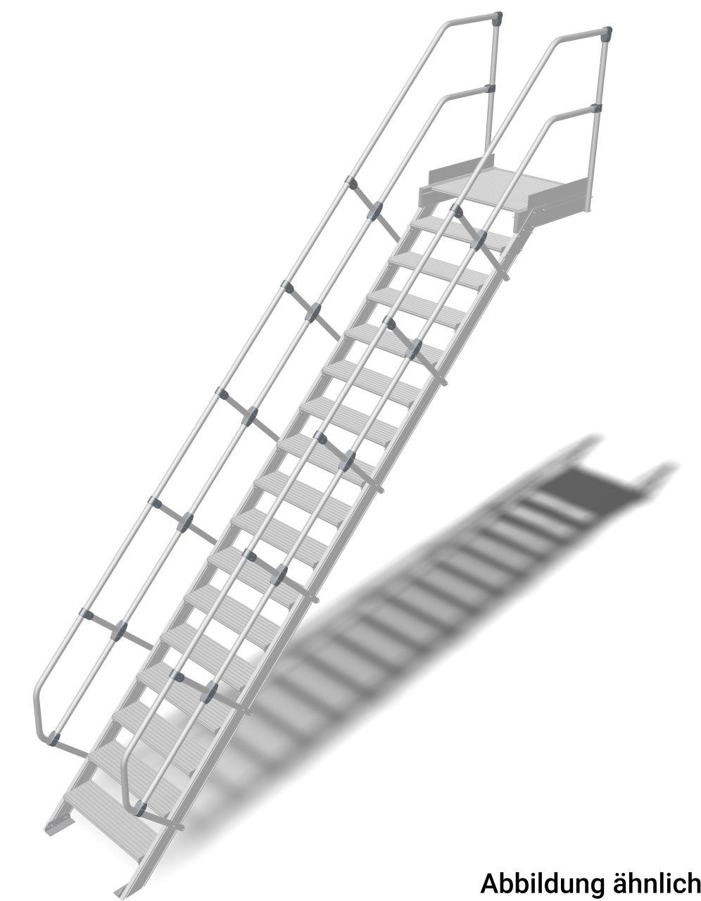 Treppe mit Plattform (Leichtmetall) Robuste Aluminium-Treppe für den sicheren Zugang zu Türen oder Zwischenböden etc. in Anlehnung an die DIN EN ISO14180