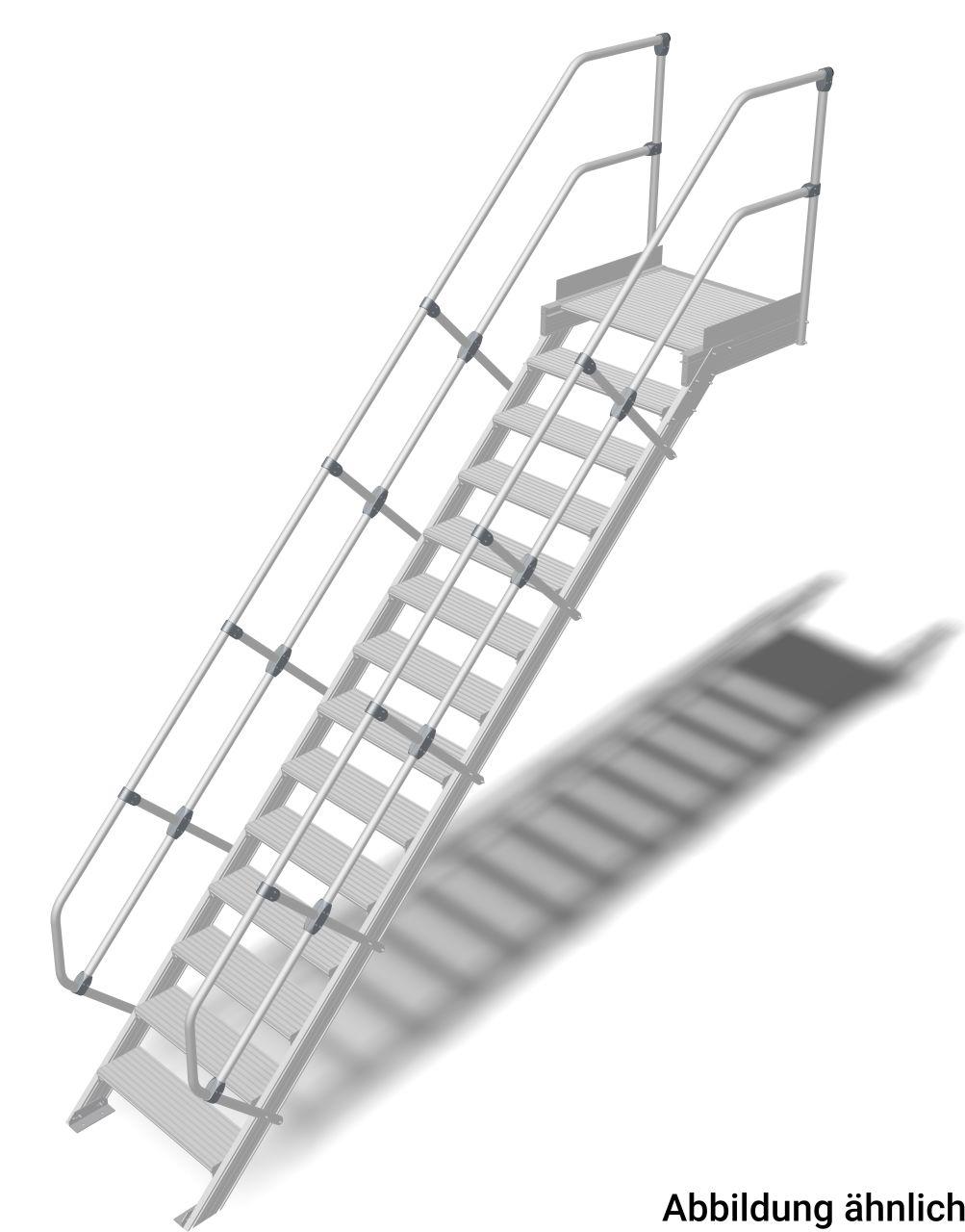 Treppe mit Plattform (Leichtmetall) Robuste Aluminium-Treppe für den sicheren Zugang zu Türen oder Zwischenböden etc. in Anlehnung an die DIN EN ISO14192