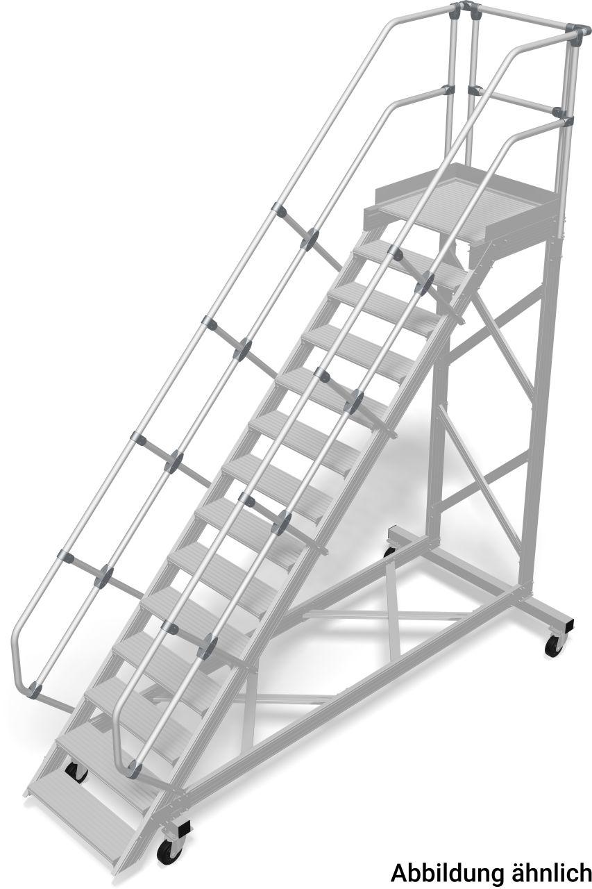 Treppe mit Plattform, fahrbar (Leichtmetall) Robuste fahrbare Aluminium-Treppe, das sichere und mobile Arbeitsmittel für alle Arbeitsbereiche in Anlehnung an die DIN EN ISO14122