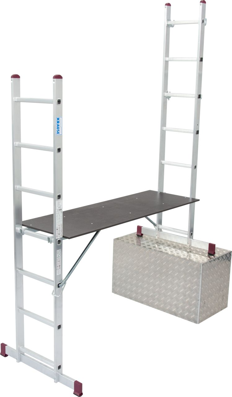 Leitergerüst-Bestehend aus zwei Leitern mit je einer Traverse und freitragender Arbeitsplattform. Verwendbar als Arbeitsbühne, Bockleiter und Anlegeleiter