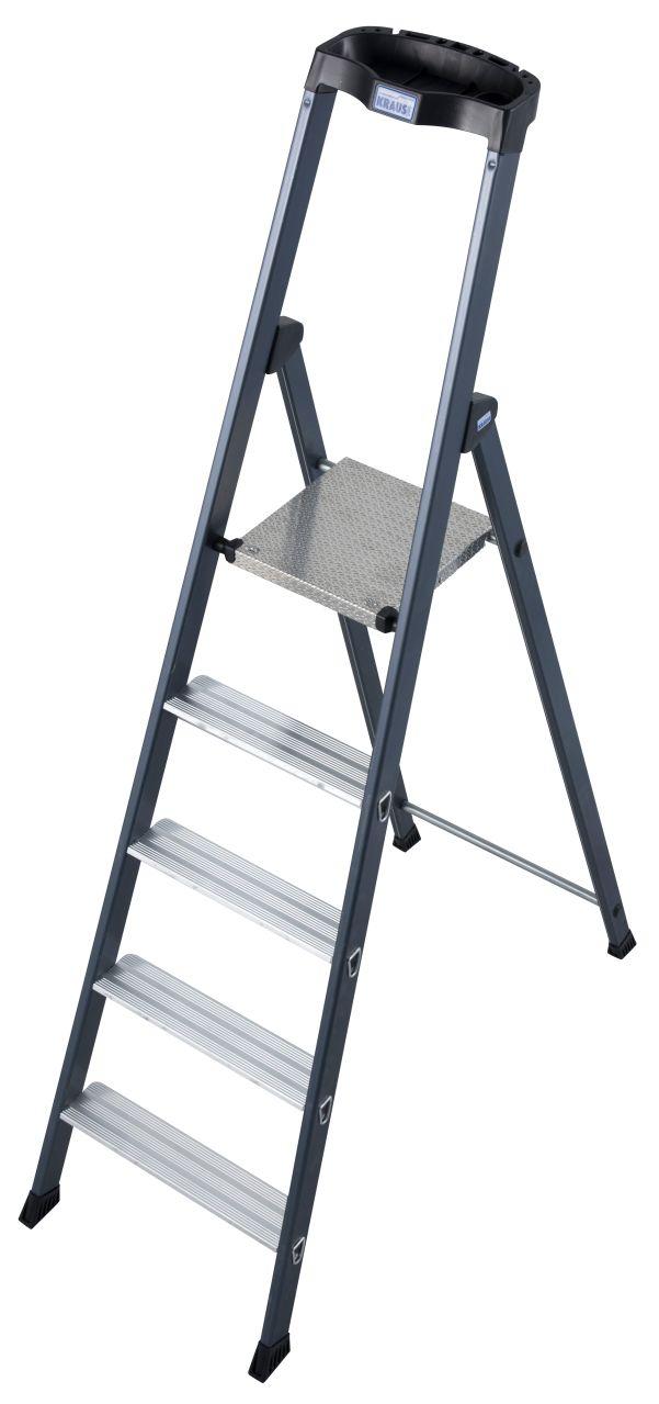 Stufen-Stehleiter SePro S eloxiert. Die SePro S ist die High-End-Stehleiter aus dem MONTO-Programm - sauber, komfortabel und langlebig