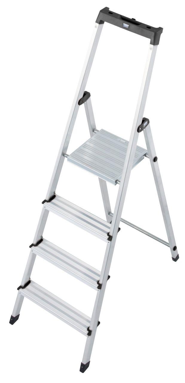 Stufen-Stehleiter Solidy. Die solide und praktische Stufen-Stehleiter mit kleiner Ablage und Eimerhaken für die unterschiedlichsten Tätigkeiten im Innenbereich
