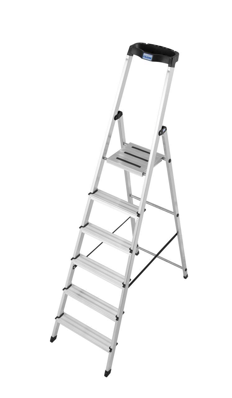 Stufen-Stehleiter Safety. Die leichte und sichere Stufen-Stehleiter mit ergonomisch geformter Multifunktionsschale und rutschhemmender Plattform