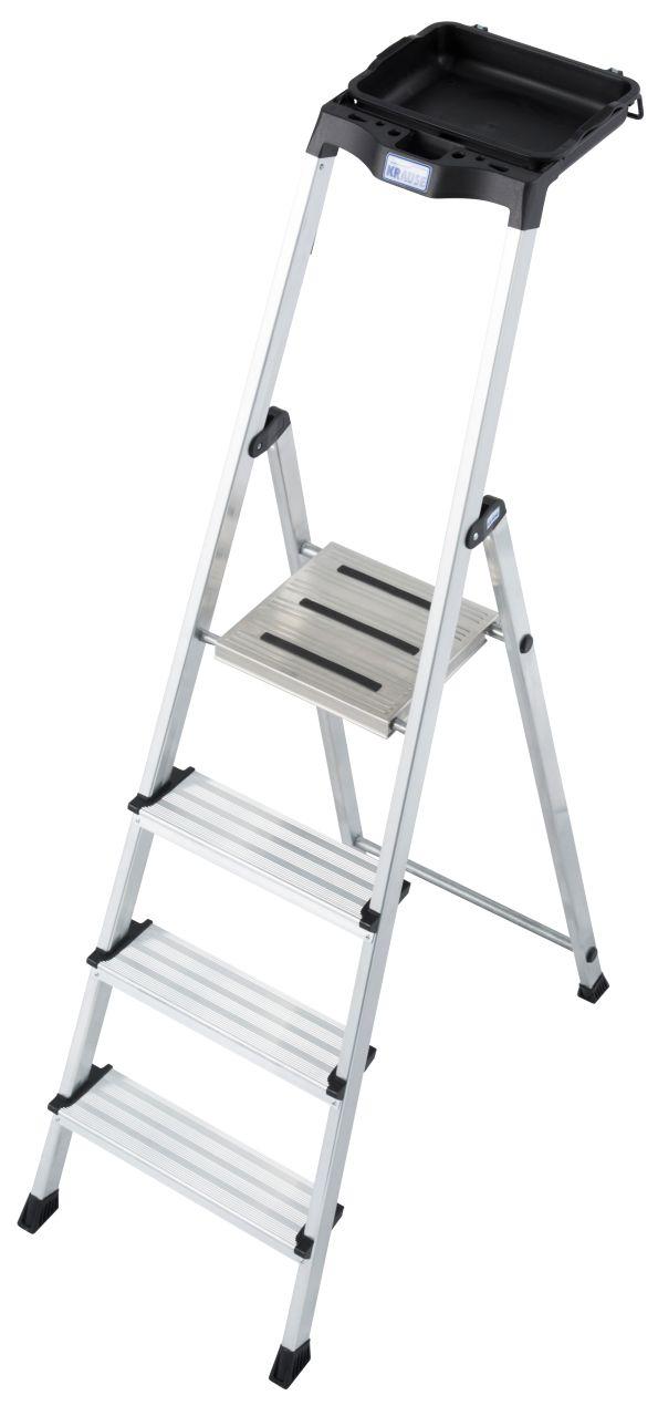 Stufen-Stehleiter Secury mit Multigrip. Die praktische und vielfältige Stufen-Stehleiter mit nahezu unbegrenzten Ablagemöglichkeiten, Eimerhalterung und rutschhemmender Plattform