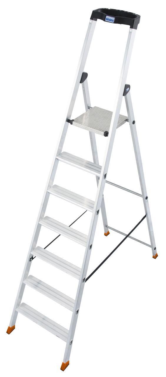 Stufen-Stehleiter Solido. Robuste und langlebige Aluminium-Stehleiter mit hochfest verbördelten Stufen und extrem rutschhemmender Plattform