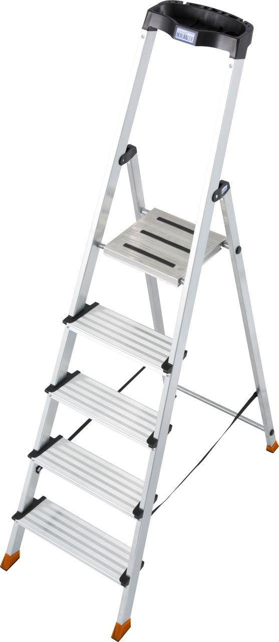 Stufen-Stehleiter Sepuro. Aluminium.Stehleiter mit extra tiefen Stufenund großer ergonomischer Multifunktionsschale