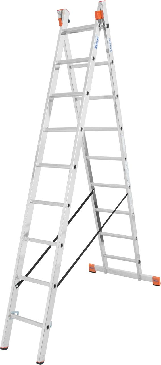 Sprossen-Mehrzweckleiter Dubilo. Zweiteilige Aluminium-Mehrzweckleiter als Stehleiter, Anlegeleiter und Schiebeleiter einsetzbar