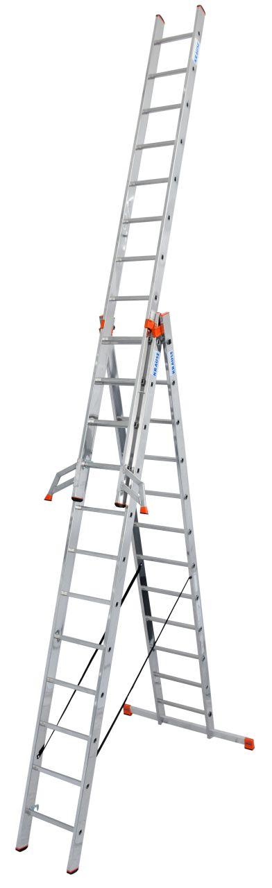Sprossen-VielzweckLeiter Tribilo. Dreiteilige Aluminium-Vielzweckleiter, einsetzbar als Anlege-, Schiebe- und Stehleiter mit ausschiebbarem Leiternteil.