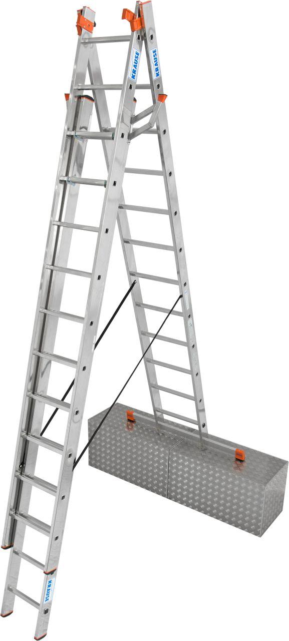 Sprossen-VielzweckLeiter Tribilo mit Treppenfunktion. Dreiteilige Aluminium-Vielzweckleiter, einsetzbar als Anlege-, Schiebe- und Stehleiter mit ausschiebbarem Leiternteil.