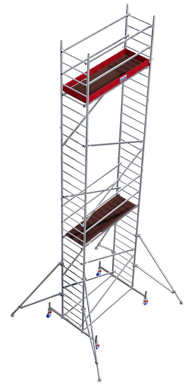 Alu-Fahrgerüst- Das massive Alu-Fahrgerüst für anspruchsvolle Anwendungen mit höhenverstellbaren, gebremsten Rollen