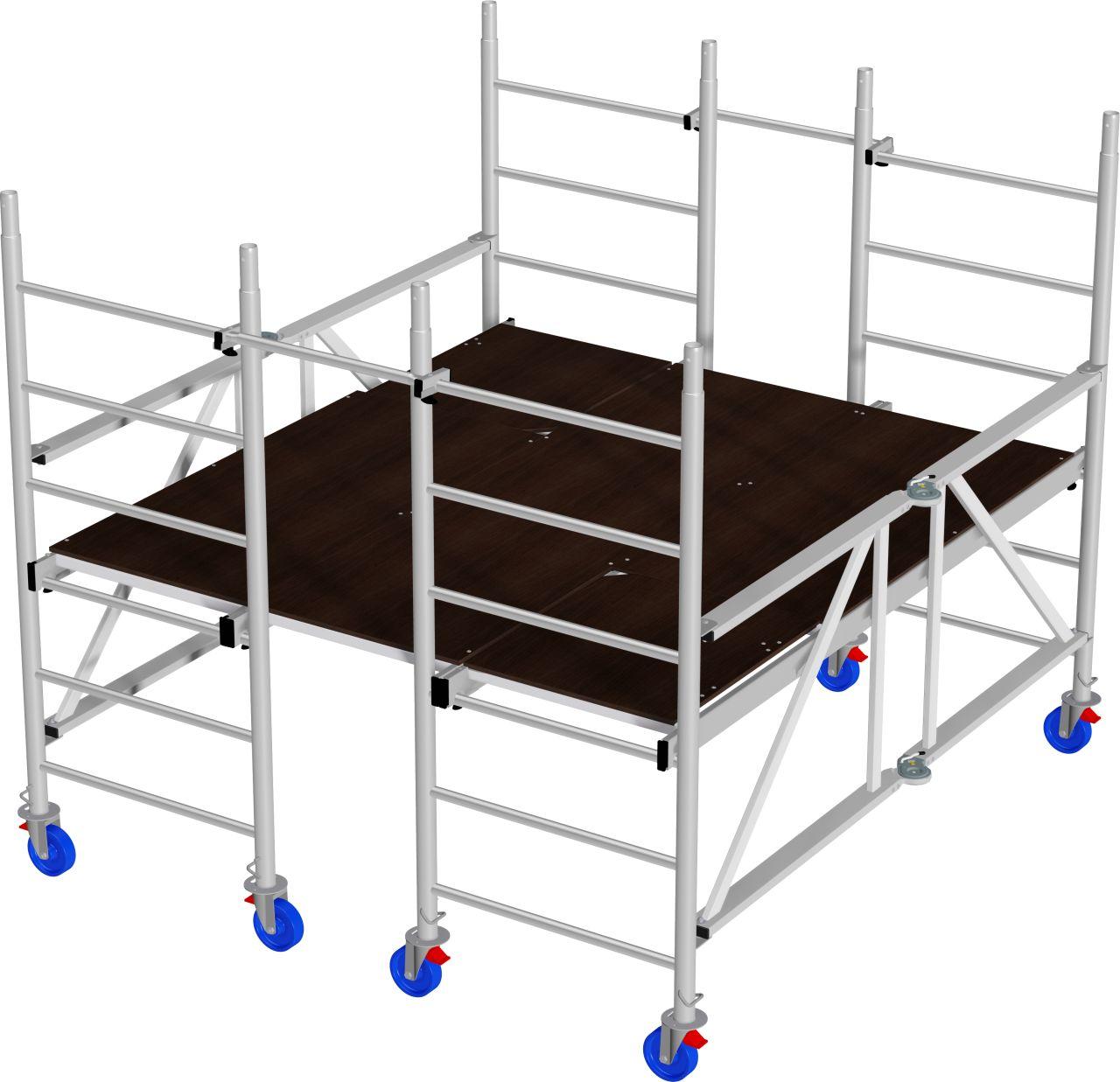 Alu-Plattformgerüst- Das Alu-Plattformgerüst für großflächige Innenarbeiten mit gebremsten Fahrrollen
