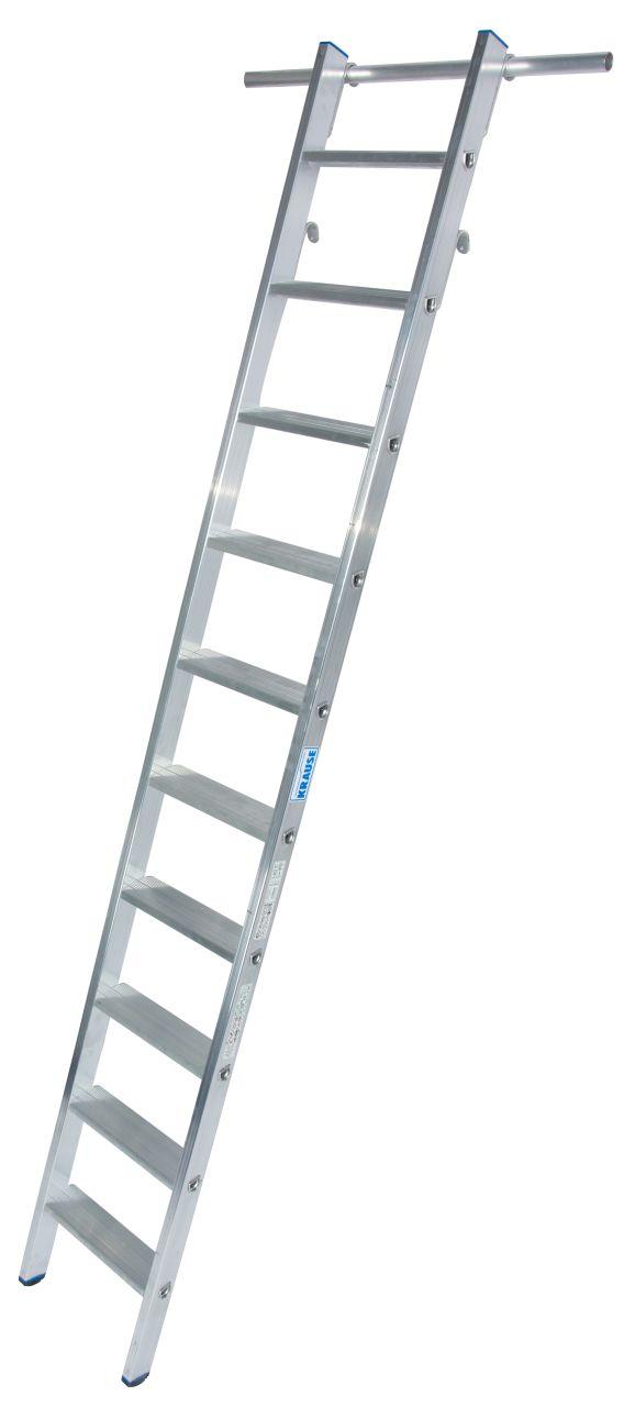 Stufen-Regalleiter, einhängbar. Aluminium-Stufen-Regalleiter mit Einhängehaken für Rundrohrschienenanlagen mit einem Rohrdurchmesser von 30 mm