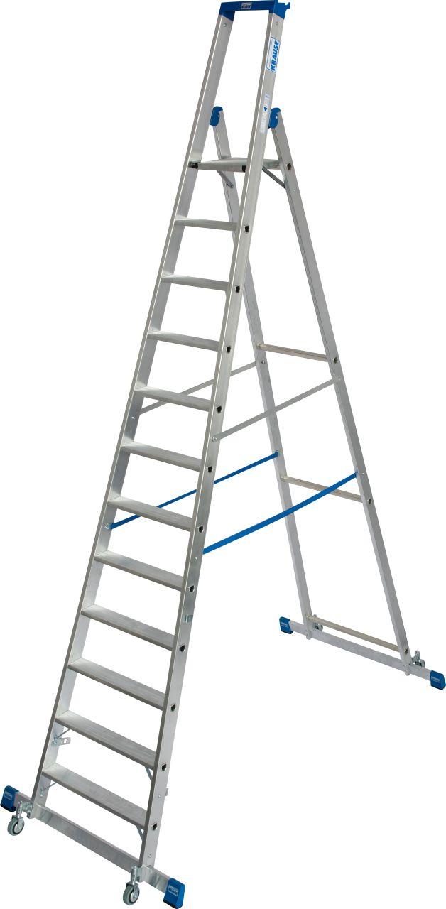 Stufen-Stehleiter, fahrbar mit Traverse. Die robuste, fahrbare Aluminium-Stehleiter mit Traversen für einfache Positionswechsel und hohe Standsicherheit mit praktischer Ablageschale für den professionellen Einsatz