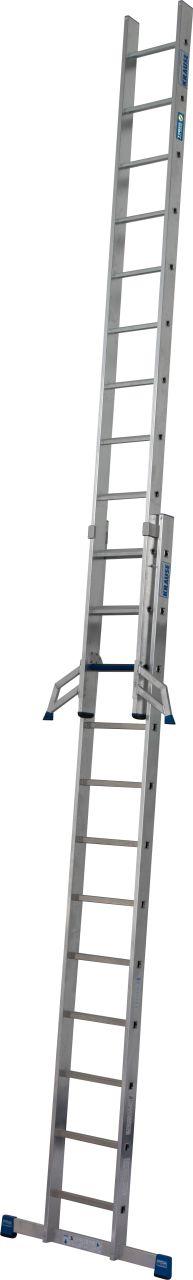 SchiebeLeiter +S. Die stabile zweiteilige Schiebeleiter mit Stufen/Sprossen-Kombination für TRBS 2121-2-konforme Anwendung.