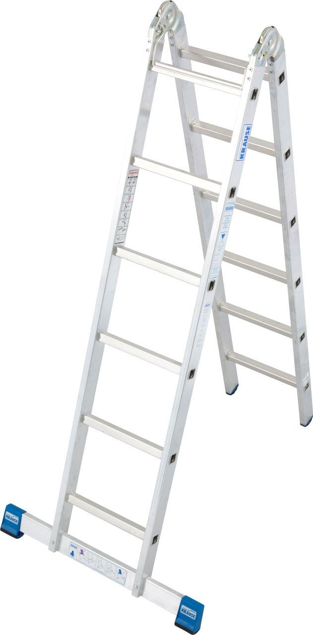 Sprossen-Gelenk-Doppelleiter. Professionelle, verstärkte Aluminium-Sprossen-Gelenk-Doppelleiter, die als Stehleiter und Anlegeleiter einsetzbar ist.