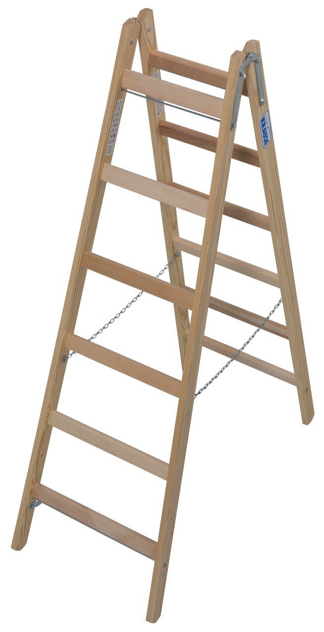 Sprossen-Doppelleiter Holz. Der Leiternklassiker für die verschiedensten Arbeiten. Beliebt bei Malern und Elektrikern