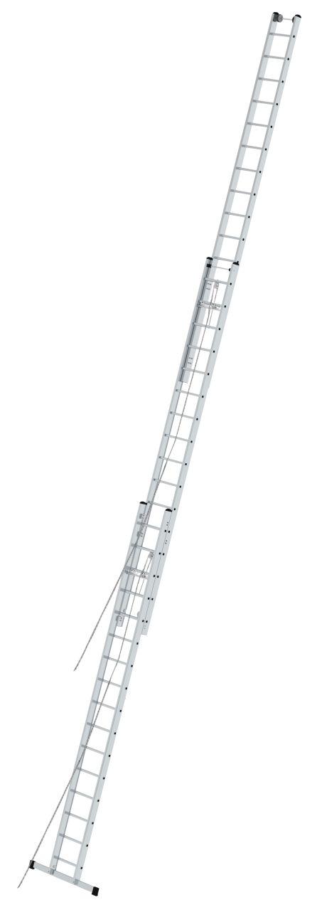Sprossen-Seilzugleiter, dreiteilig. Dreiteilige Sprossen-Seilzuleiter für den professionellen Einsatz in großen Höhen mit Wandlaufrollen und zwei Seilzügen zur komfortablen Höhenverstellung