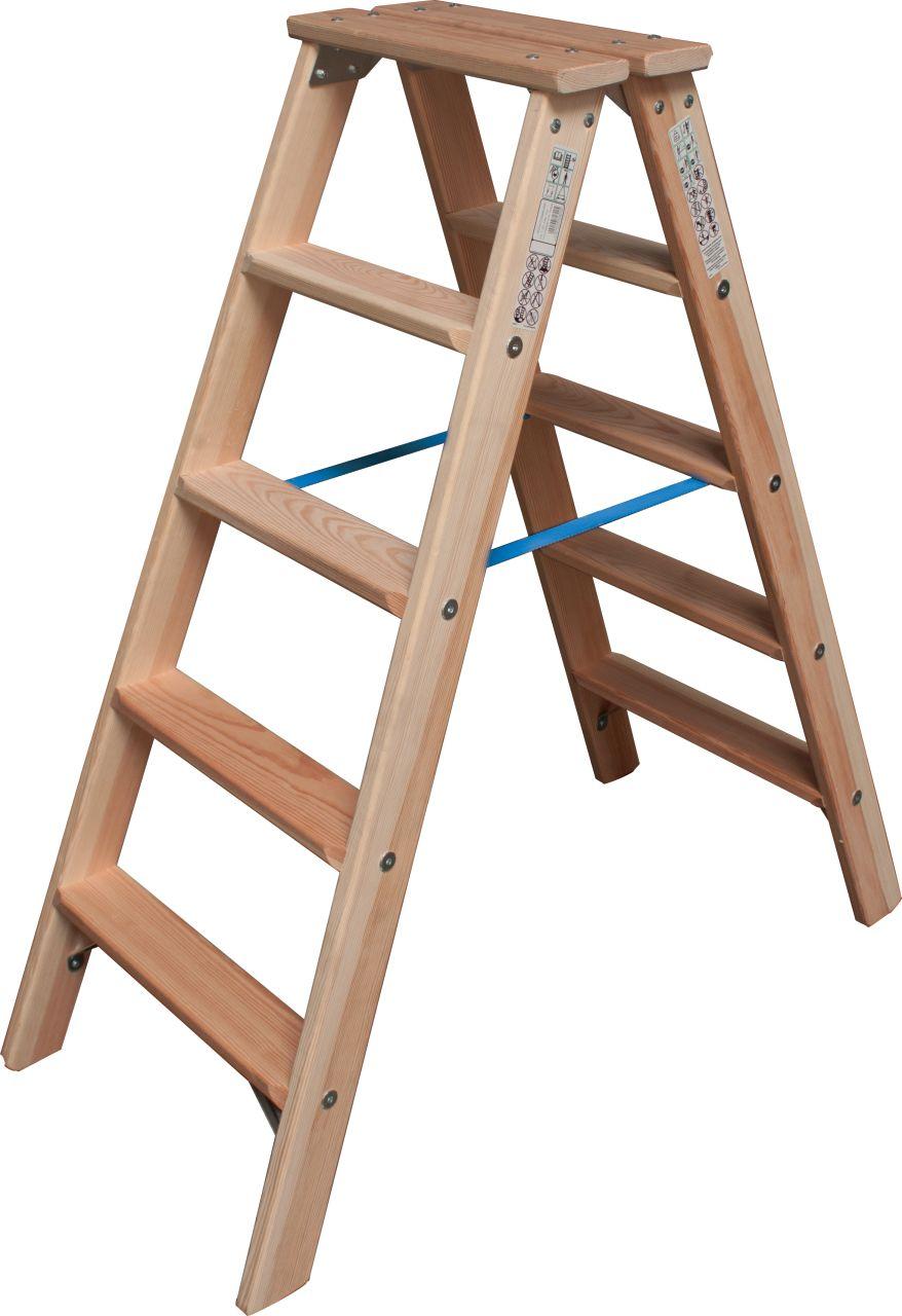 Stufen-Doppelleiter Holz. Die komfortable, beidseitig begehbare Stehleiter aus Holz mit tiefen Stufen für einen ermüdungsfreien Stand. Ideal für Maler und Elektriker