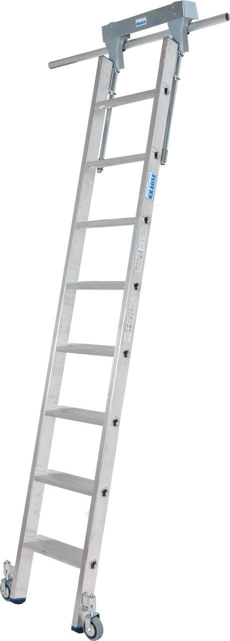 Stufen-Regalleiter, Rundrohr-Schienenanlage. Aluminium-Stufen-Regalleiter mit integriertem Kopffahrwerk-System für Rundrohrschienenanlage mit 30 mm Durchmesser