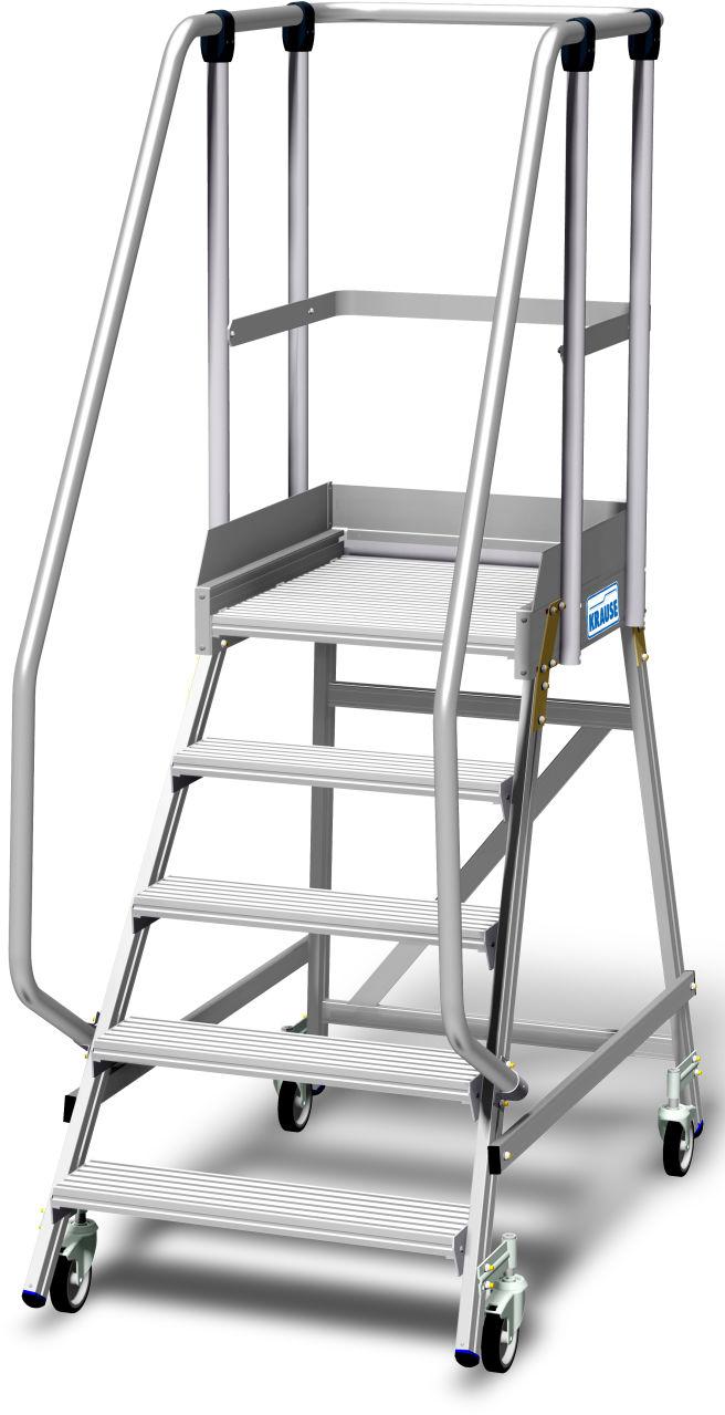 Podestleiter fahrbar, einseitig begehbar mit Fußleiste und extra hohem Handlauf gem. EN 131-7. Fahrbare, beidseitig begehbare Aluminium Podestleiter mit tiefen Stufen, beidseitigem Geländer, großer Standplattform, 1,10 m hohem Plattformgeländer und 15 cm