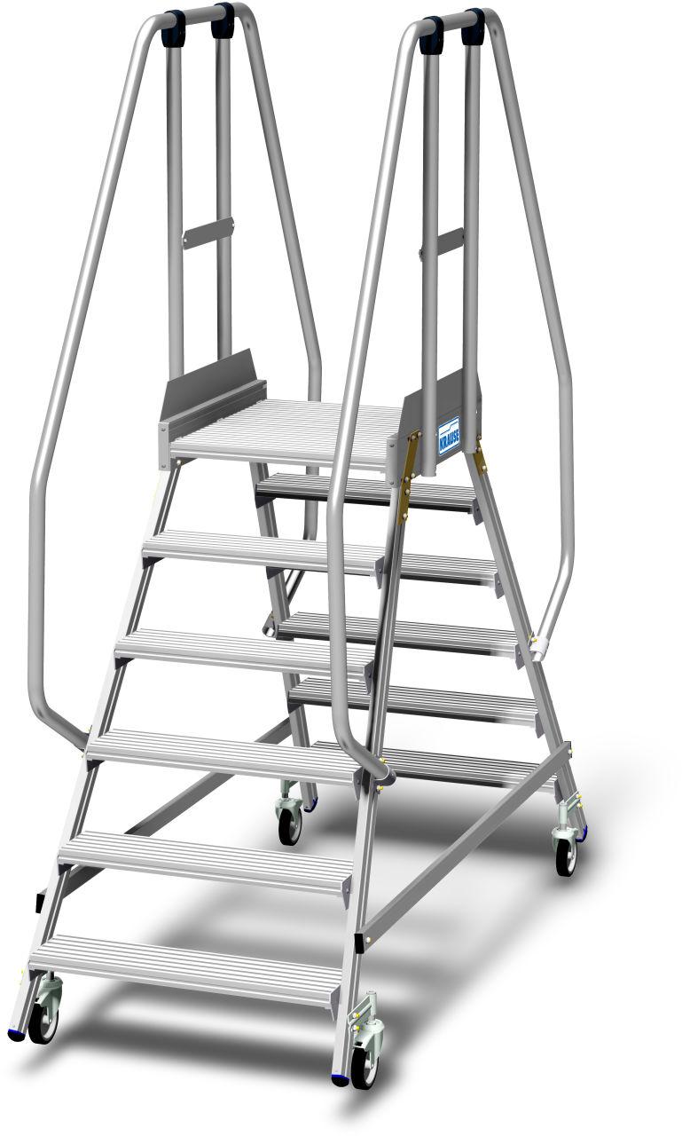 Podestleiter fahrbar, beidseitig begehbar mit Fußleiste und extra hohem Handlauf gem. EN 131-7. Fahrbare, beidseitig begehbare Aluminium Podestleiter mit tiefen Stufen, beidseitigem Geländer, großer Standplattform, 1,10 m hohem Plattformgeländer und 15 cm