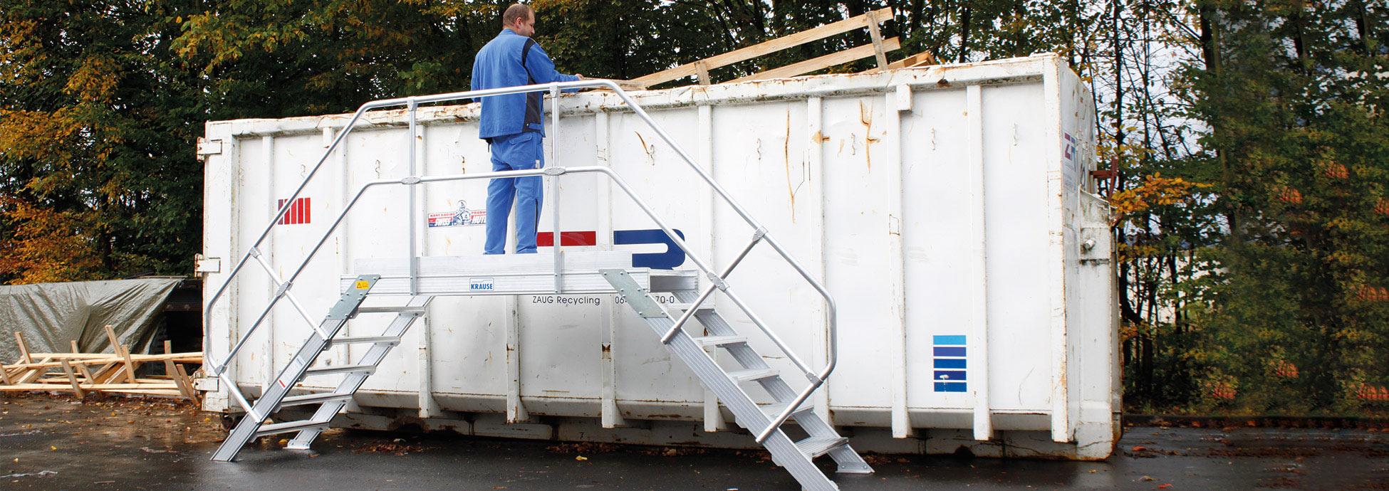 Sonderlösungen, Montagetritte und Podestleitern aus Aluminium zur Abfallentsorgung und Müllentsorgung