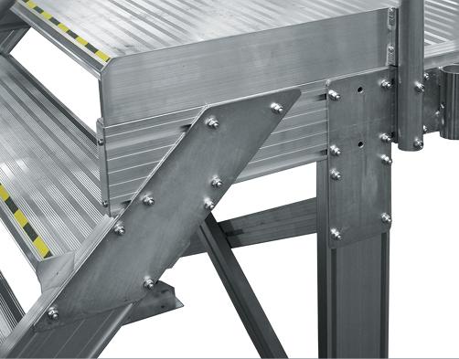 Bodenmontierte Seiten- und Dacharbeitsbühne – Treppenanschluss an Laufsteg