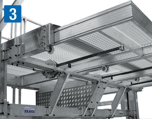 fahrbare Dacharbeitsbühne – Teleskopierbares Podest mittels Kurbelstange