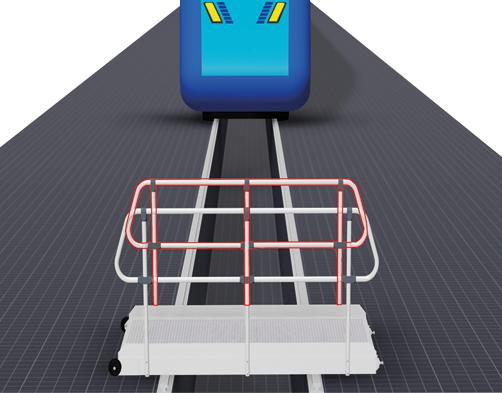 Steckbares Geländer - fahrbare Gleisübergänge